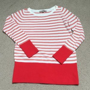 Loft Pink Striped Sweater with Red